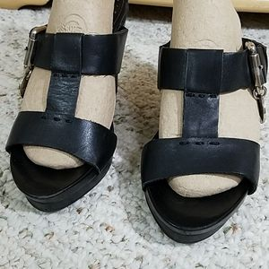 BCBGirls Black Wedge Sandal, sz 6.5B